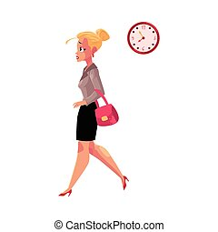 Young blond businesswoman hurrying, being late to work, feeling nervous