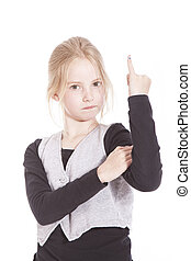 young blond girl giving the finger in studio