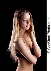 Young blond girl in lingerie - sadness emotion
