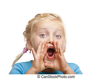 Young blond girl screams loud. Isolated on white background.