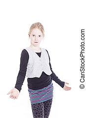 young blond girl with asking gesture in studio