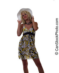 Young blond teen girl in summer dress and hat