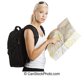 young blond tourist - young pretty student girl in vacation...