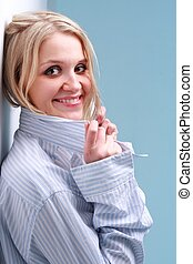 young blond woman in shirt