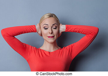 Young blond woman is has pain in her head