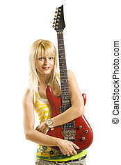 young blond woman playing electric guitar