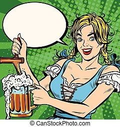 Young blond woman pours a beer, national costume