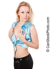 young blond woman stripping