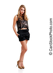 young blond woman with black shorts