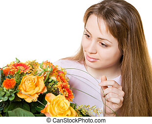 young blond woman with flowers