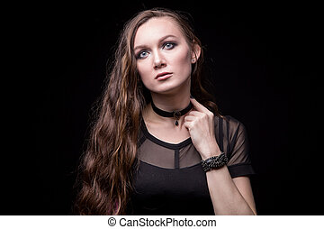 Young blond woman with long hair