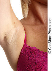 pink bra - young blond woman with pink bra lift arm