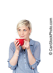 Young Blond Woman With Red Coffee Mug