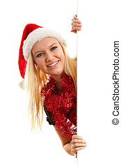woman with santa hat holding empty board
