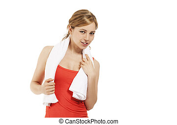 young blonde fitness woman with a white towel on white background