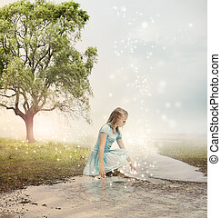 Young Blonde Girl at a Magical Brook