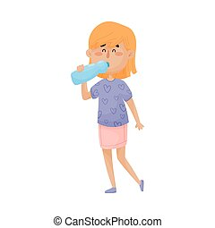 Young Blonde Girl Character Standing and Drinking Still Water From Bottle Vector Illustration