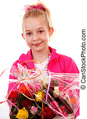 Young blonde girl with colorful bouquet of roses for mothers day over white background