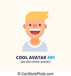 Young blonde guy friendly smiling. Vector icon.