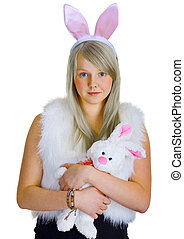 Young blonde in a fancy-dress with toy rabbit