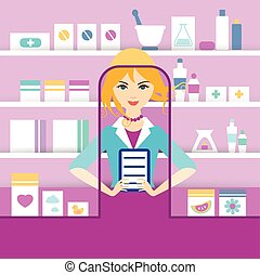Young blonde pharmacy chemist girl standing in drugstore. Flat vector.