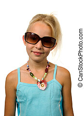 Young blonde summer girl with big sunglasses