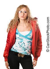 Young blonde wearing glasses in red jacket
