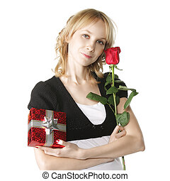 Young blonde with gift-box and red rose