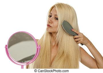 woman brushing her