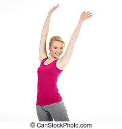 young blonde woman doing sport