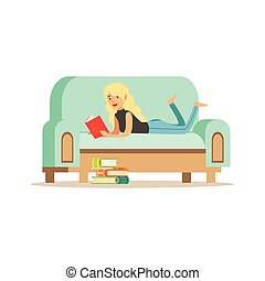 Young blonde woman lying on her stomach on a light blue sofa and reading a book, woman resting at home vector Illustration