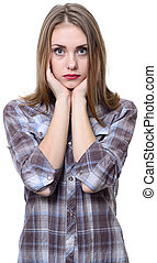 Young blondy girl. - Young blondy girl isolated on white...