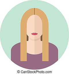 Young blondy woman flat icon. Modern design - Young woman...