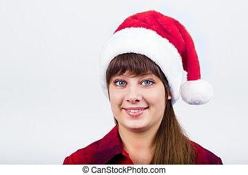 blue-eyed beautiful girl in santa hat