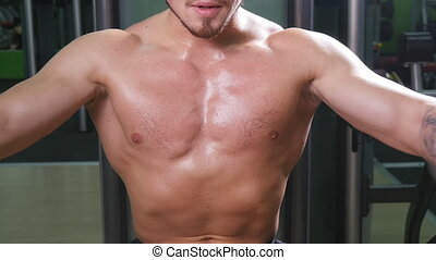 Young Bodybuilder Doing Heavy Weight Exercise For Chest In The Gym