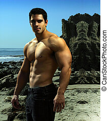 Young bodybuilder - Dramatic outdoor portrait of a very...