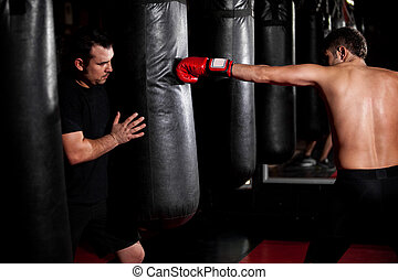 Boxer training with his coach