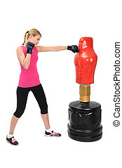 Young Boxing Lady with Body Opponent Bag Mannequin - Young...