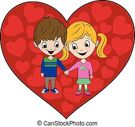 Young Boy and Girl Holding Hands Valentine