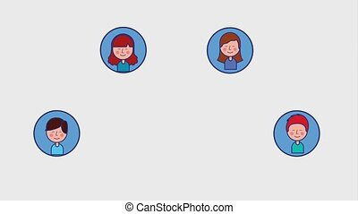 young boy and girl social media round icons animation hd