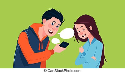 Boy and girl chatting online