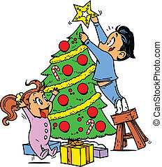 Trimming the Christmas Tree - Young Boy and Girl Trimming...