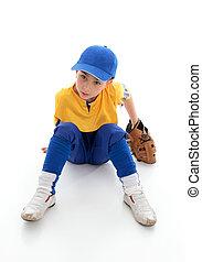 Young boy baseball t-ball player
