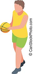 Young boy basketball play icon, isometric style