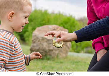 Young boy being handed a live green lizard
