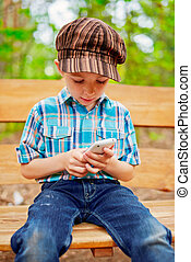 Young boy browsing internet