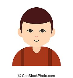 young boy cartoon character flat icon