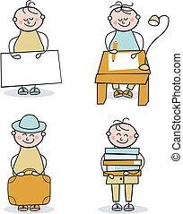 Young Boy Cartoons Set