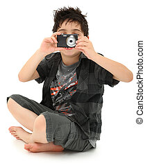 Young Boy Child Photographer with Digital Camera