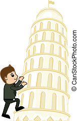 Young Boy Climbing on Tower of Pisa